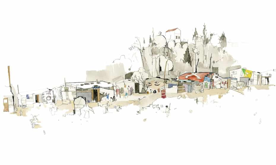 A refugee settlement in northern Lebanon, as drawn by George Butler