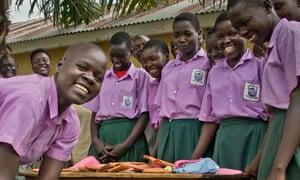 Making reuseable sanitary pads in rural Uganda