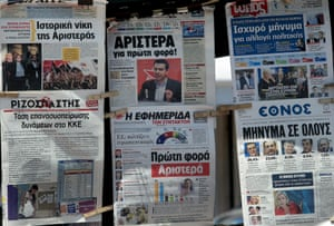 Greek newspapers are displayed in a kiosk in Athens, Greece, 26 May 2014.