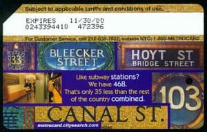 Street signs MetroCard