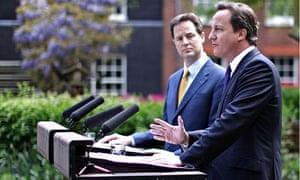 Nick Clegg and David Cameron at Downing Street in May 2010