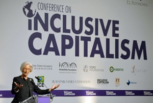Christine Lagarde, Managing Director of the International Monetary fund, addresses the Inclusive Capitalism Conference at the Mansion House in the City of London on May 27, 2014.