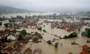 Bosnian town of Doboj submerged in floodwater