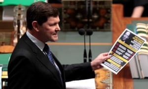 Social services minister Kevin Andrews mid-sneer on aged pensions.