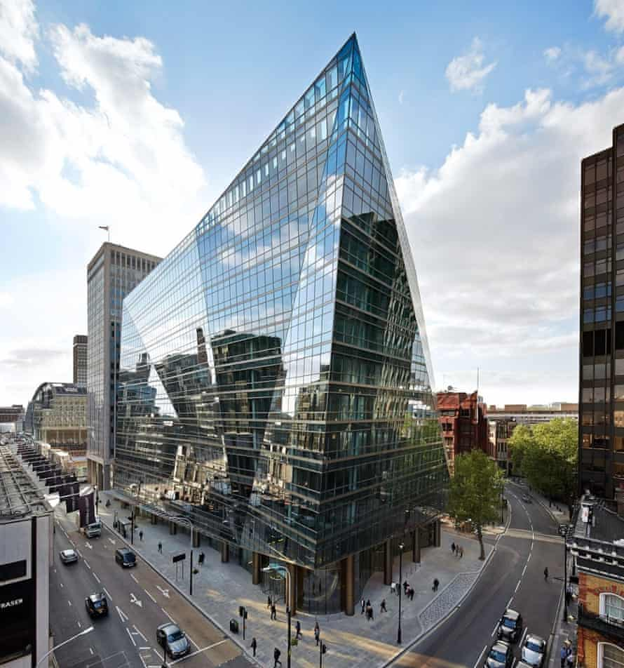 Marooned iceberg … 62 Buckingham Gate stands as a crumpled mirror mountain in Victoria.