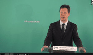 Nick Clegg delivering his international aid speech