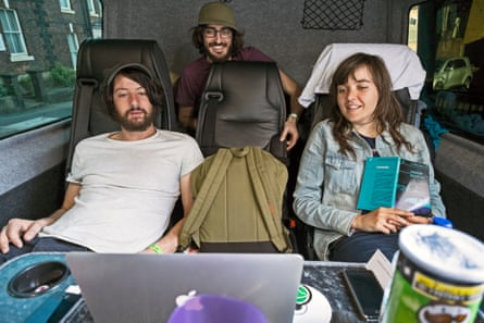 Courtney Barnett on tour: Dave, Bones, and Courtney, watching 'Seinfeld' in the Tour Bus.