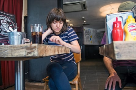 Courtney Barnett on tour: Courtney, checking messages from home, before the gig in Sheffield.