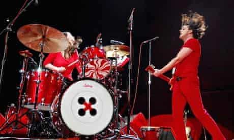 Meg and Jack White of the White Stripes performing at Madison Square Garden in 2007.