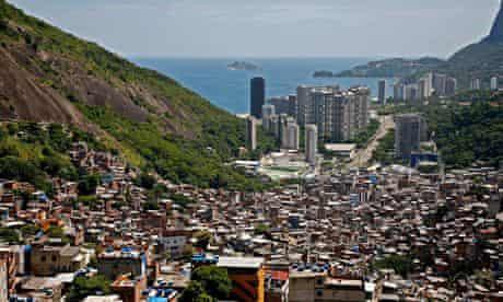 View down from the top of  Rio de Janeiro's Rocinha favela.
