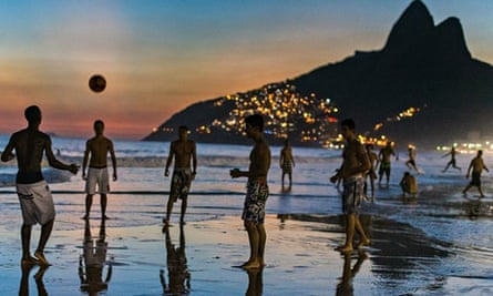 Playing football on Ipanema beach in Rio