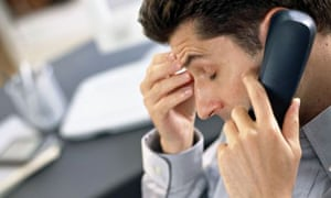 Man stressed phone