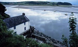 Dylan Thomas's boathouse in Laugharne, Wales overlooking water