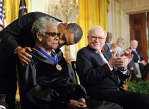 Maya Angelou in pictures: Barack Obama and Maya Angelou