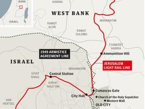 The route taken by the Jerusalem light rail