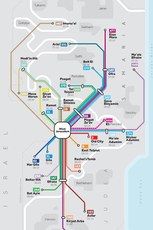 Greater Israel bus map