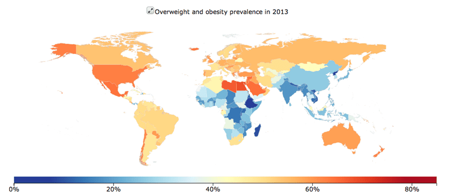 The IHME's tool which shows data on prevalence of overweight and obesity by country and over time