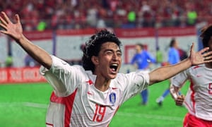 Ahn celebrates his goal, but nothing would ever be this good again for South Korea's matchwinner.