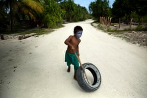 A favourite toy for children is an old car tyre