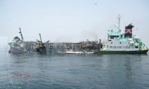The 998-tonne oil tanker listing off the coast of Hyogo prefecture