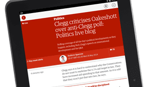 Live blogs on an Android tablet