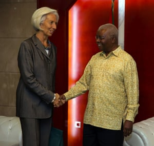 IMF Managing Director Christine Lagarde greeting Mozambique's President Armando Guebuza.