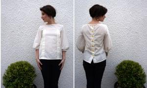 Elena Cresci wearing a blouse she sewed