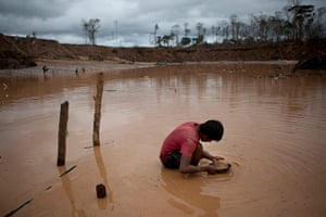Illegal gold mining: A boy searches for gold
