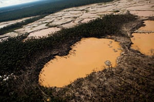 Illegal gold mining: An aerial view of the illegal mines