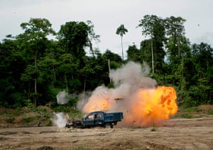 Illegal gold mining: A controlled explosion