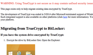 A screenshot of the TrueCrypt website following its notice.