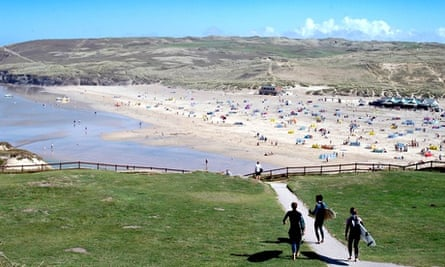 The Watering Hole (on the right) on Perranporth beach.