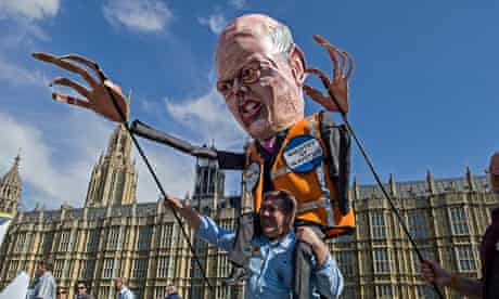 An effigy of Chris Grayling at a protest by probation officers against privatisation plans.