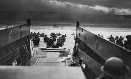 A view from inside one of the landing craft after US troops hit the water during the Allied D-Day invasion of Normandy, France.
