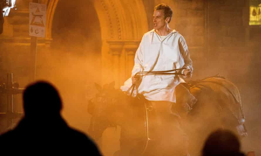 Peter Capaldi riding a horse during filming for the new series of Doctor Who.