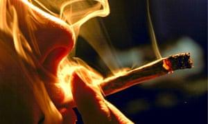 SOFT DRUGS: MAN SMOKING MARIJUANA