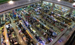 A view down to one floor of one building of the market