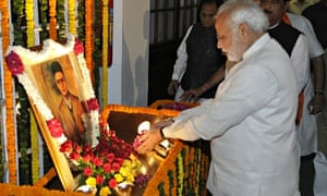 Narendra Modi pays tribute to freedom fighter Veer Savarkar, creator of the Hindutva ideology.