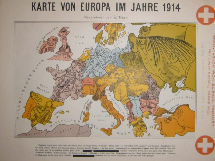 Karte Von Europa 1914.The Octopuses Of War Ww1 Propaganda Maps In Pictures