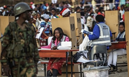 A Malawian army soldier stands guard during the election