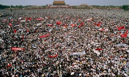 A sea of student protesters gather in Tiananmen square, 4 May 1989.