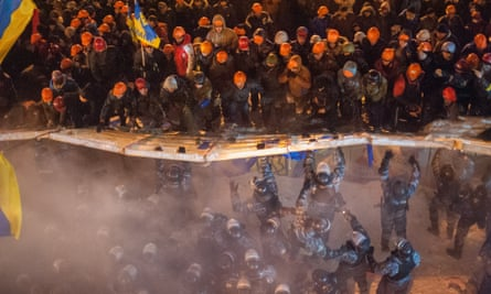 Demonstrators clash with riot police officers in Kiev during protests that led to the fall of former president  Viktor Yanukovitch.