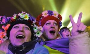 Pro-Europe Ukrainians celebrate New Year in Kiev in January 2014.
