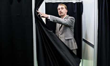 DPP's Morten Messerschmidt casts his vote in the European parliamentary elections