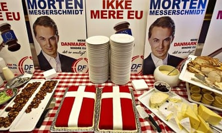 A poster saying 'No more EU' and buffet for the DPP at the Danish parliament, in Copenhagen.