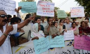 Activists from the Pakistan Peoples Party Social Media protest against the killing of Farzana Parveen yesterday.