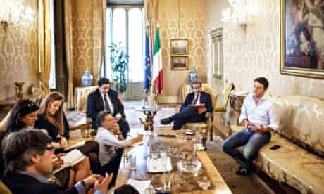 Italian prime minister Matteo Renzi talks to journalists at the Palazzo Chigi