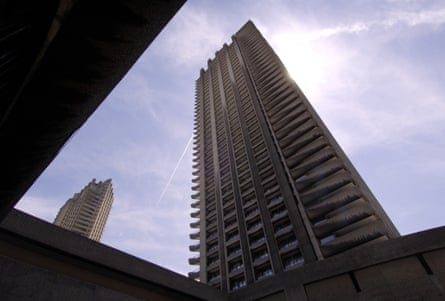 Towers of flats at the Barbican Centre, London.