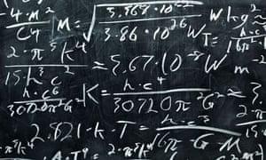 Maths equations on a blackboard