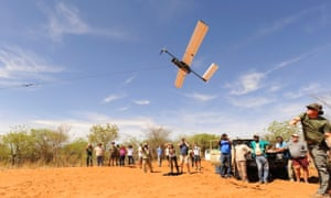 Bungee-launch of a Falcon UAV unpiloted aircraft in a demonstration in Namibia.